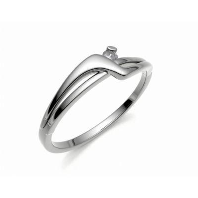 Zásnubní prsten Yes bílé zlato 14kt s diamantem