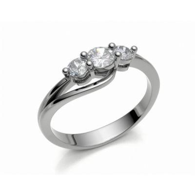 Zásnubní prsten Florencie bílé zlato 14kt s diamanty