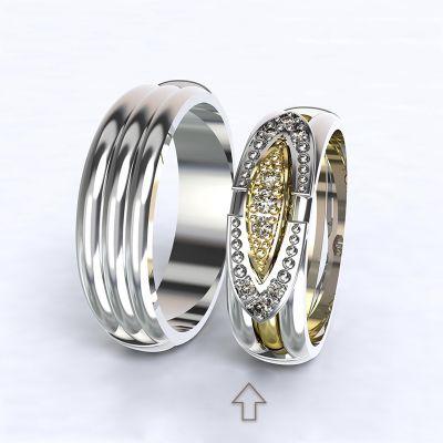 Dámský snubní prsten Bonnie & Clyde bílé zlato 14kt s diamanty