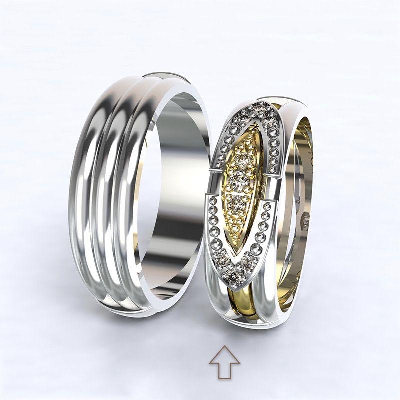 Dámský snubní prsten Bonnie & Clyde bílé zlato 14kt s diamanty - 59