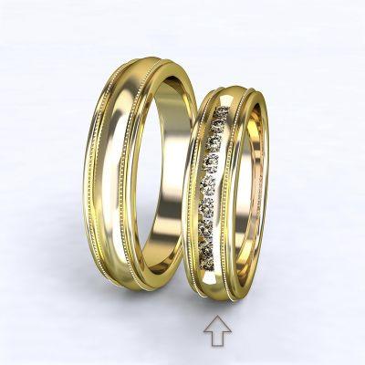 Dámský snubní prsten Avignon žluté zlato 14kt s diamanty