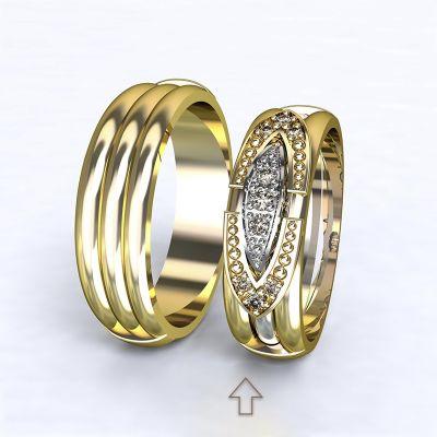 Dámský snubní prsten Bonnie & Clyde žluté zlato 14kt s diamanty