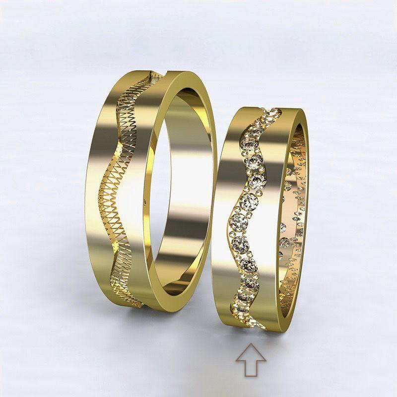 Dámský snubní prsten Cannes žluté zlato 14kt s diamanty - 73