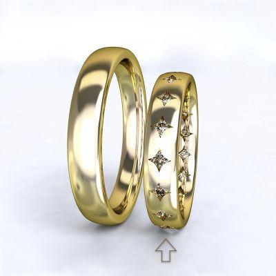 Dámský snubní prsten Cherish žluté zlato 14kt s diamanty