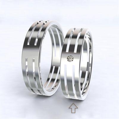 Dámský snubní prsten Elegance bílé zlato 14kt s diamantem