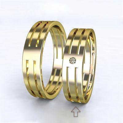 Dámský snubní prsten Elegance žluté zlato 14kt s diamantem