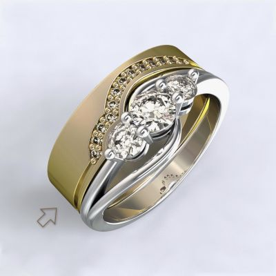 Dámský snubní prsten Florencie žluté zlato 14kt s diamanty