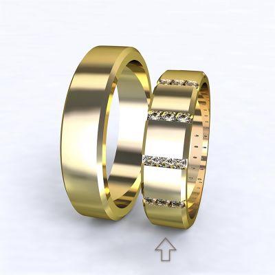 Dámský snubní prsten Legend žluté zlato 14kt s diamanty