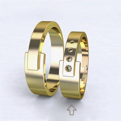 Dámský snubní prsten Loira žluté zlato 14kt s diamanty