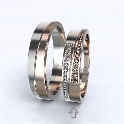 Dámský snubní prsten Marsellie bílé/růžové zlato 14kt s diamanty