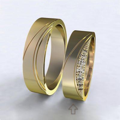 Dámský snubní prsten Moon Light žluté zlato 14kt s diamanty