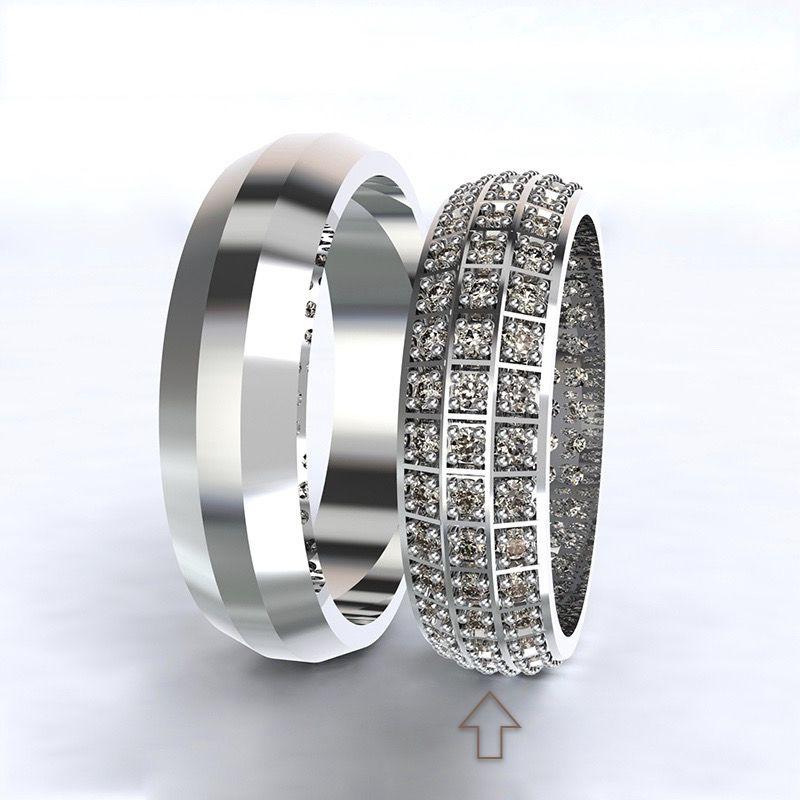 Dámský snubní prsten Paris bílé zlato 14kt s diamanty