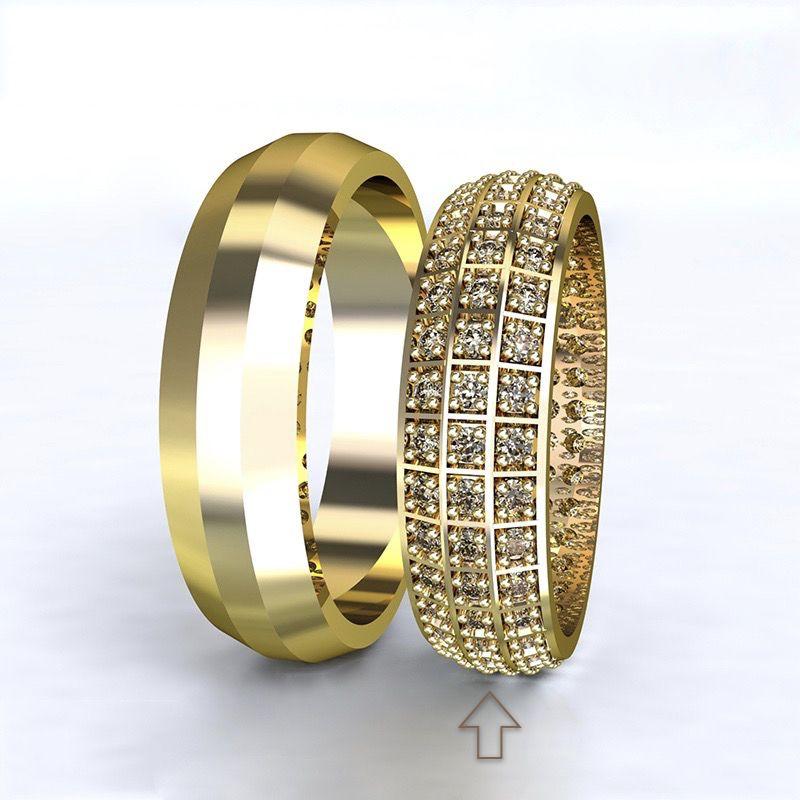 Dámský snubní prsten Paris žluté zlato 14kt s diamanty - 68