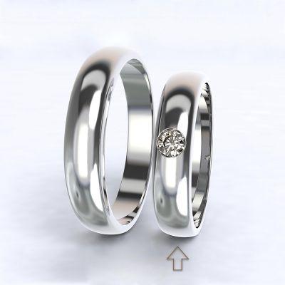 Dámský snubní prsten Polibek bílé zlato 14kt s diamantem