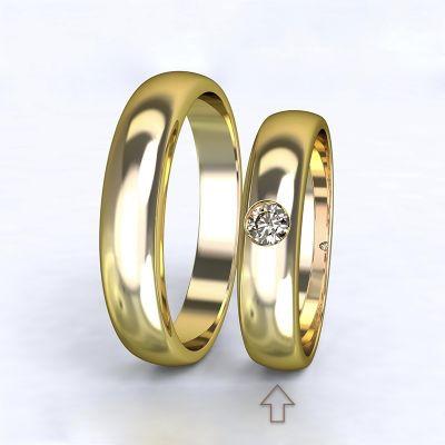 Dámský snubní prsten Polibek žluté zlato 14kt s diamantem