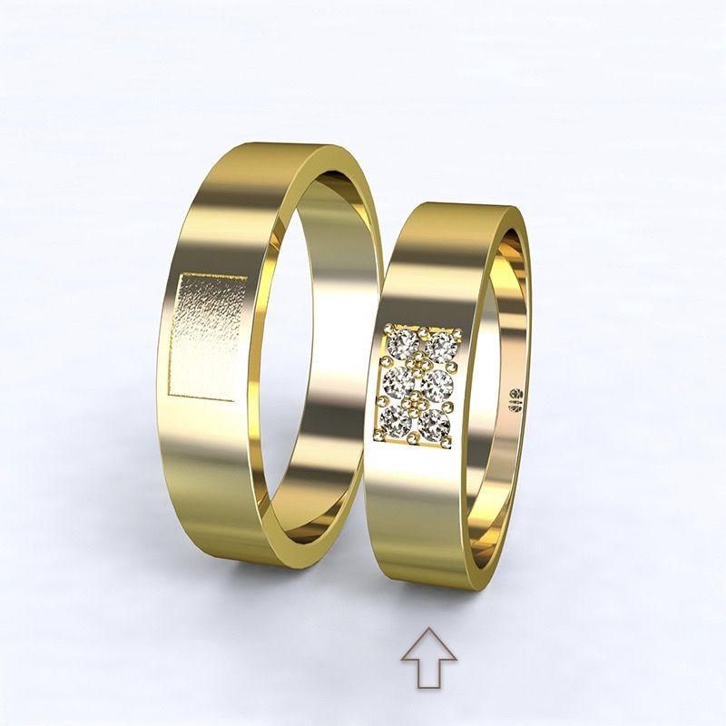 Dámský snubní prsten Purity žluté zlato 14kt s diamanty - 50