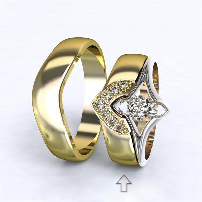 Dámský snubní prsten Roma žluté zlato 14kt s diamanty