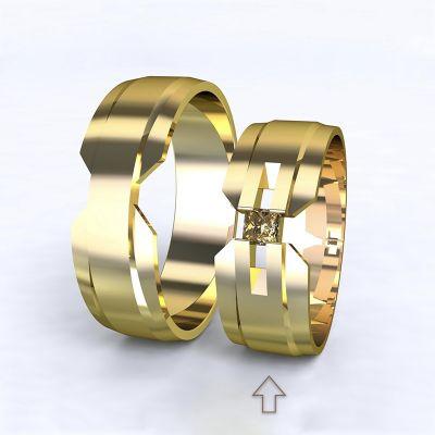 Dámský snubní prsten Venezia žluté zlato 14kt s diamantem