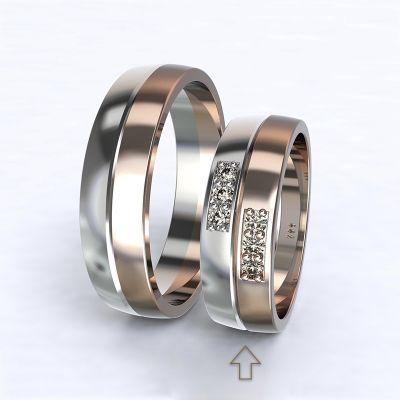 Dámský snubní prsten Verona bílé/růžové zlato 14kt s diamanty
