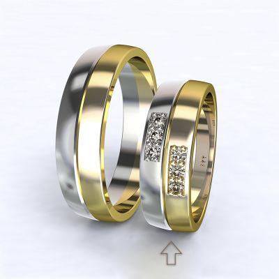 Dámský snubní prsten Verona bílé/žluté zlato 14kt s diamanty