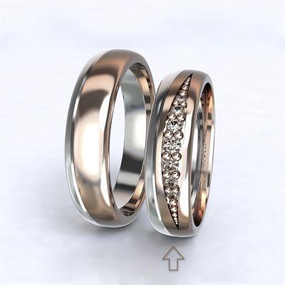 Dámský snubní prsten Versailles bílé/růžové zlato 14kt s diamanty