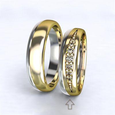 Dámský snubní prsten Versailles bílé/žluté zlato 14kt s diamanty