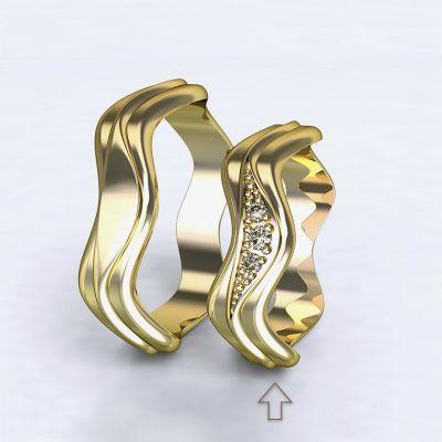 Dámský snubní prsten Yafo žluté zlato 14kt s diamanty