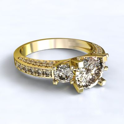 Prsten Nikea - žluté zlato 14kt s diamanty - 72