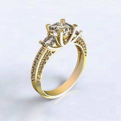 Prsten Nikea - žluté zlato 14kt s diamanty