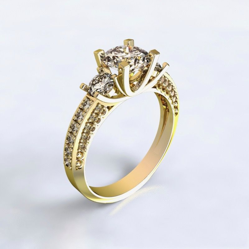 Prsten Nikea - žluté zlato 14kt s diamanty - 61