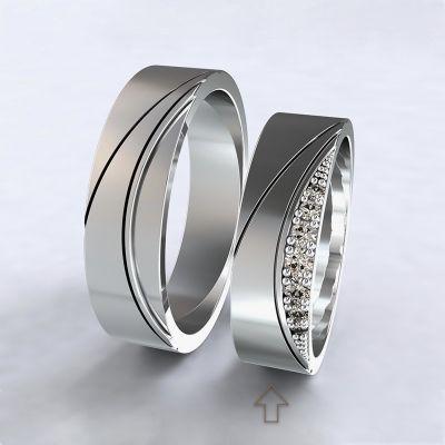 Dámský snubní prsten Moon Light bílé zlato 14kt s diamanty