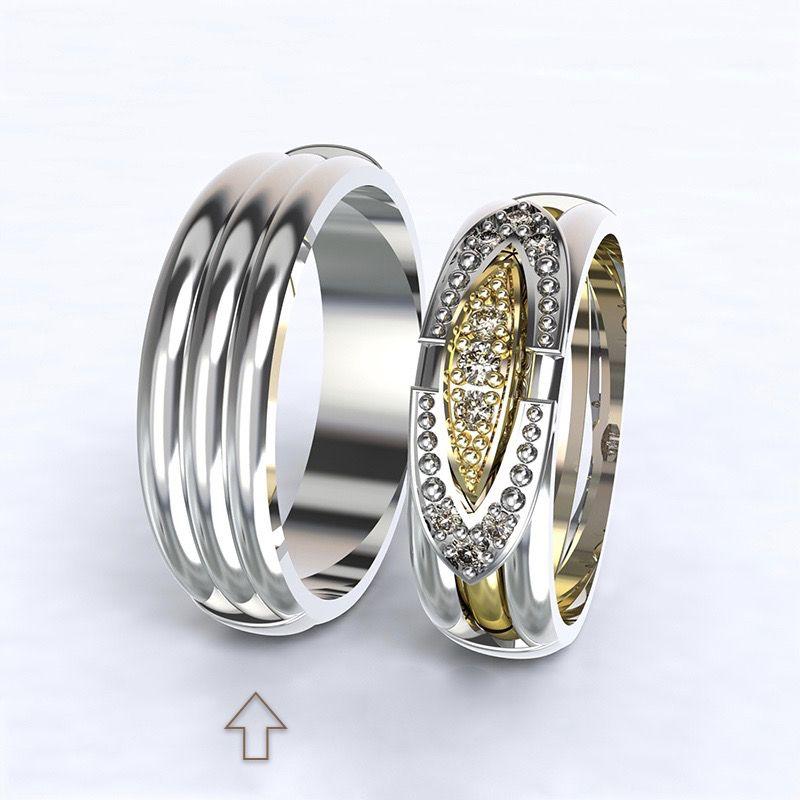 Pánský snubní prsten Bonnie & Clyde bílé zlato 14kt
