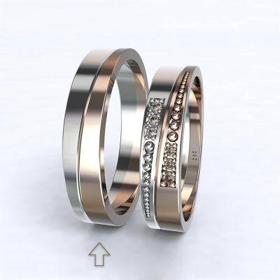 Pánský snubní prsten Marsellie bílé/růžové zlato 14kt