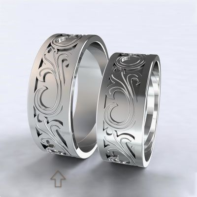 Pánský snubní prsten Romeo & Julie bílé zlato 14kt