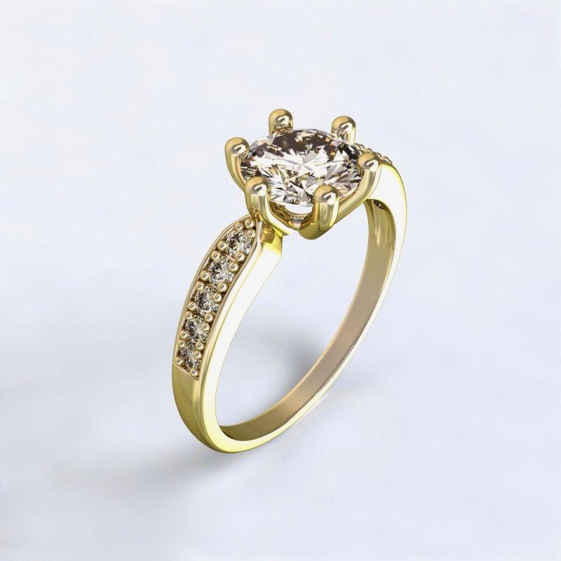 Prsten Dorkas žluté zlato 14kt s diamanty
