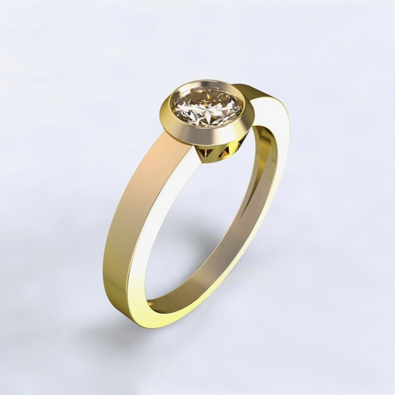 Prsten Larisa žluté zlato 14kt s diamantem