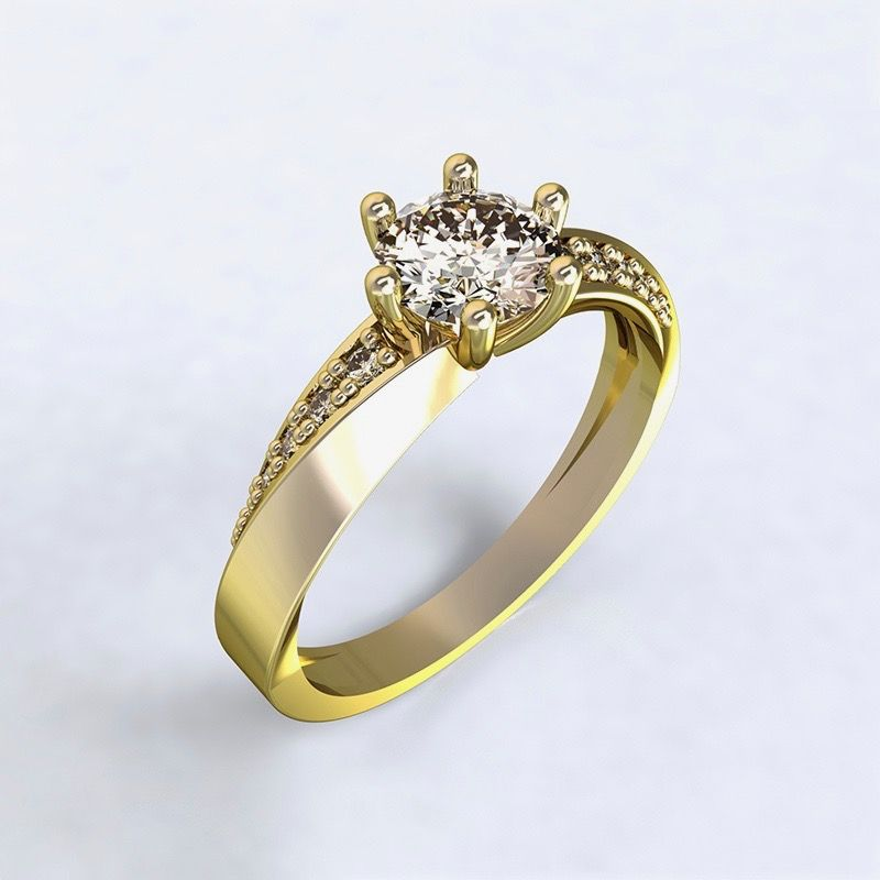 Prsten Moon Light-e - žluté zlato s diamanty, 14kt
