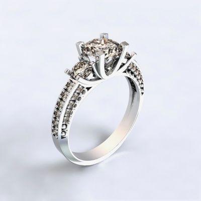 Prsten Nikea - bílé zlato 14kt s diamanty - 73
