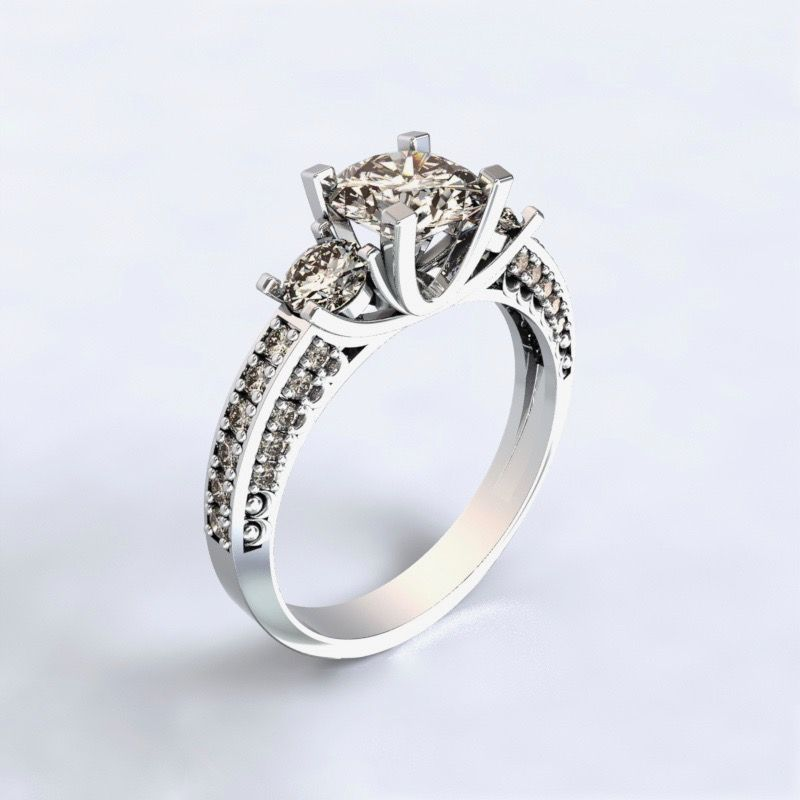 Prsten Nikea - bílé zlato 14kt s diamanty - 48