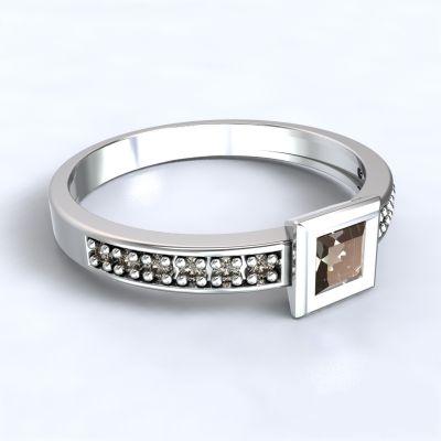 Zásnubní prsten Perama - bílé zlato 14kt s diamanty
