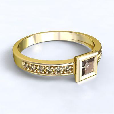 Zásnubní prsten Perama - žluté zlato 14kt s diamanty - 47