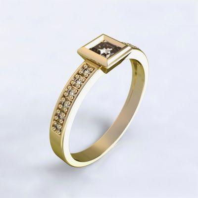 Zásnubní prsten Perama - žluté zlato 14kt s diamanty