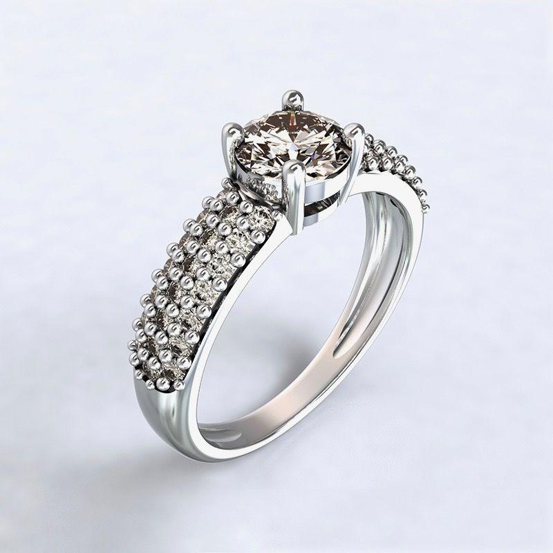 Prsten Trikala - bílé zlato 14kt s diamanty - 68