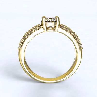 Prsten Trikala - žluté zlato 14kt s diamnty