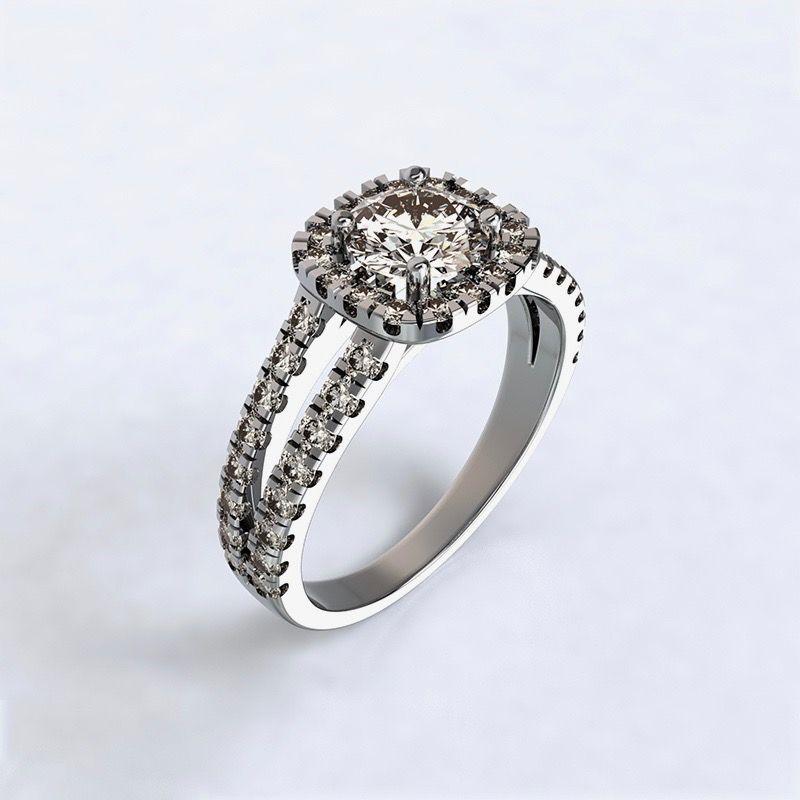 Prsten Zara - bílé zlato 14kt s diamanty