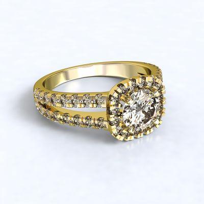 Prsten Zara - žluté zlato 14kt s diamnty - 66