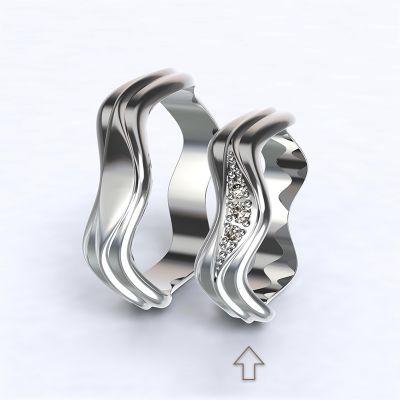 Dámský snubní prsten Yafo bílé zlato 14kt s diamanty