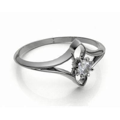 Zásnubní prsten Roma bílé zlato 14kt s diamantem