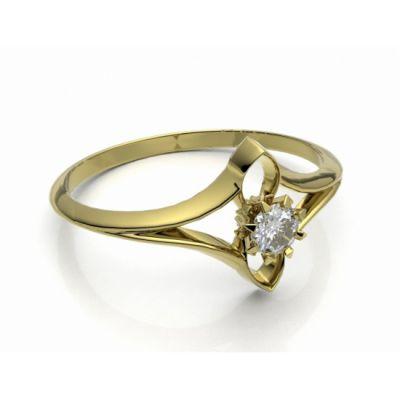 Zásnubní prsten Roma žluté zlato 14kt s diamantem