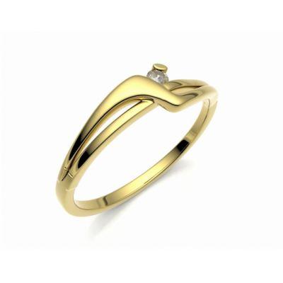 Zásnubní prsten Yes žluté zlato 14kt s diamantem